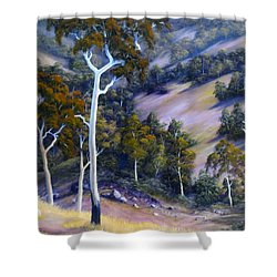 Sloping Hills Shower Curtain by John Cocoris