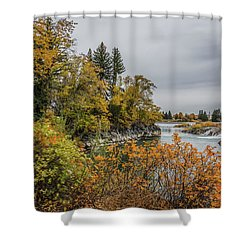 Snake River Greenbelt Walk In Autumn Shower Curtain by Yeates Photography