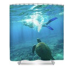 Snorkeler Female Sea Turtle Shower Curtain