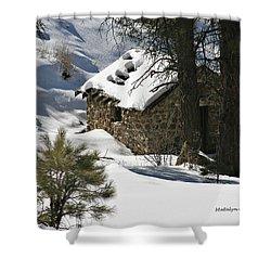 Snow Cabin Shower Curtain