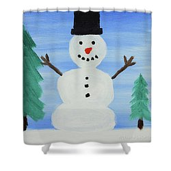 Snowman Shower Curtain by Anthony LaRocca