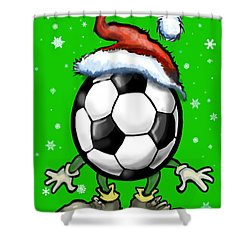 Soccer Christmas Shower Curtain by Kevin Middleton