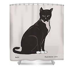 Socks The Cat Shower Curtain by Fred Jinkins