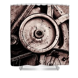 Soviet Ussr Combine Harvester Abstract Cogs In Monochrome Shower Curtain