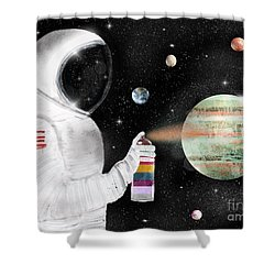 Shower Curtain featuring the painting Space Graffiti by Bri B