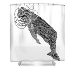 Sperm Whale And Squid Shower Curtain by Carol Lynne