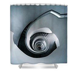 Spiral Staircase In Blue Tones Shower Curtain by Jaroslaw Blaminsky