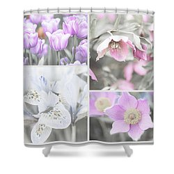 Shower Curtain featuring the photograph Spring Flower Collage. Shabby Chic Collection by Jenny Rainbow