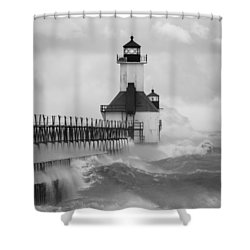 St. Joseph North Pier Lighthouse Shower Curtain