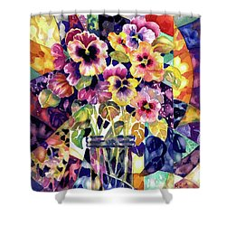 Stained Glass Pansies Shower Curtain