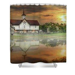 Shower Curtain featuring the mixed media Star Barn Sunrise by Lori Deiter