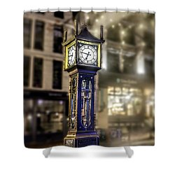 Shower Curtain featuring the photograph Steam Clock by Jim  Hatch