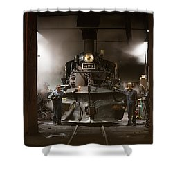 Steam Locomotive In The Roundhouse Of The Durango And Silverton Narrow Gauge Railroad In Durango Shower Curtain by Carol M Highsmith