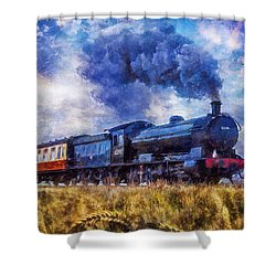 Shower Curtain featuring the digital art Steam Train by Ian Mitchell