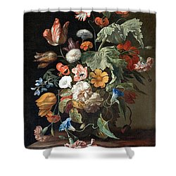 Shower Curtain featuring the painting Still-life With Flowers by Rachel Ruysch