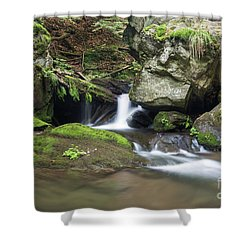 Shower Curtain featuring the photograph Stone Guardian Of The Waterfalls - Bizarre Boulder On The Bank by Michal Boubin