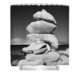 Stone Tower On Halki Island Shower Curtain