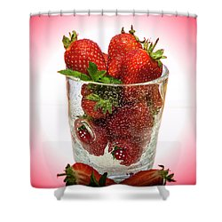 Strawberry Dessert Shower Curtain by David French