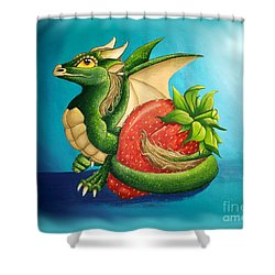 Shower Curtain featuring the painting Strawberry Dragon by Mary Hoy