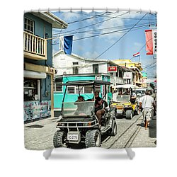 Shower Curtain featuring the photograph Street Scene Of San Pedro by Lawrence Burry