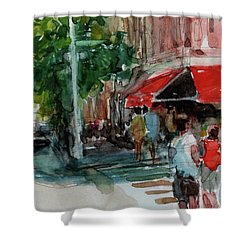 Streetscape With Red Awning - 82nd Street Market Shower Curtain by Peter Salwen