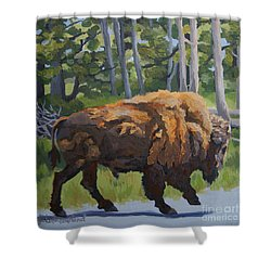 Shower Curtain featuring the painting Strutting Along, Yellowstone by Erin Fickert-Rowland