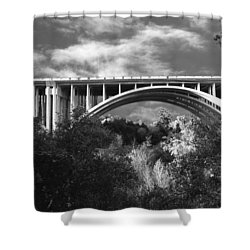Suicide Bridge Bw Shower Curtain by Robert Hebert