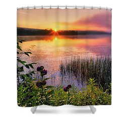 Shower Curtain featuring the photograph Summer Sunrise Square by Bill Wakeley