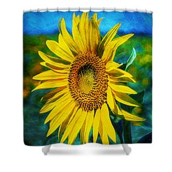 Shower Curtain featuring the digital art Sunflower by Ian Mitchell