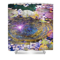 Sunglint On Autumn Lily Pond II Shower Curtain