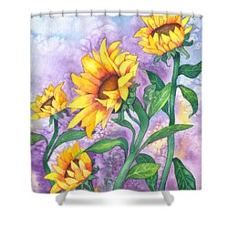 Shower Curtain featuring the painting Sunny Sunflowers by Kristen Fox