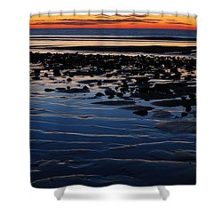 Sunrise At The Shore Shower Curtain by James Kirkikis