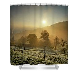 Sunrise From Petrin Yard In Prague, Czech Republic Shower Curtain