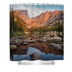 Dream Lake Sunrise Shower Curtain