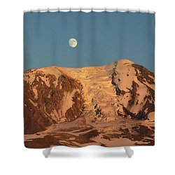 Sunset And Moonrise At Mt Adams Shower Curtain