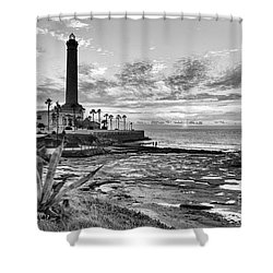 Shower Curtain featuring the photograph Sunset At Chipiona Lighthouse Cadiz Spain by Pablo Avanzini