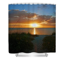 Sunset At Delnor Wiggins Pass State Park Shower Curtain