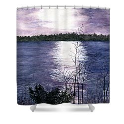 Shower Curtain featuring the painting Sunset At Niagara River New York by Melly Terpening