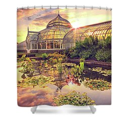 Shower Curtain featuring the photograph  Sunset At Phipps Conservatory by Emmanuel Panagiotakis