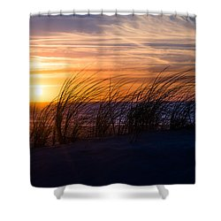 Shower Curtain featuring the photograph sunset at the North Sea by Hannes Cmarits