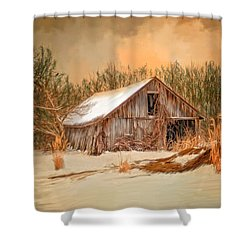 Sunset Barn Shower Curtain by Mary Timman