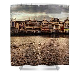 Sunset On The Boardwalk Walt Disney World Mp Shower Curtain by Thomas Woolworth