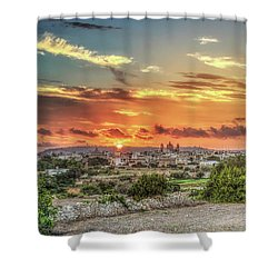 Sunset Over Qrendi Shower Curtain by Stephan Grixti