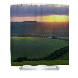 Sunset Over The South Downs Shower Curtain