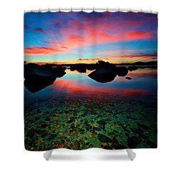 Sunset With A Whale Shower Curtain by Sean Sarsfield