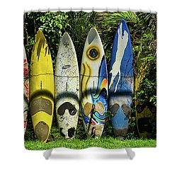 Surfboard Fence Maui Hawaii Shower Curtain by Peter Dang