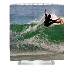 Surfer Shower Curtain by Carlos Caetano