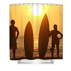 Surfer Silhouettes Shower Curtain by Larry Dale Gordon - Printscapes