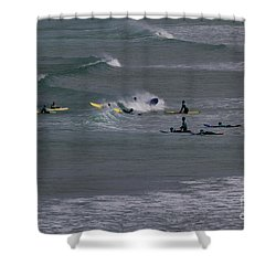 Shower Curtain featuring the photograph Photographs Of Cornwall Surfers At Fistral by Brian Roscorla