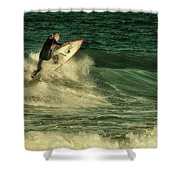 Surfing - Jersey Shore Shower Curtain by Angie Tirado